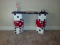 DIY dice table with chalkboard painted top for game room. Easy project!