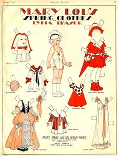 Mary Lou's Spring Clothes Paper Dolls  Lydia Fraser, Canadian Home Journal - papercat - Picasa Web Albums