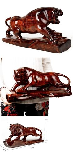 Other Wood and Project Materials 183160: Peach Wood Tiger Lucy Blessing Exorcise Evil Home Art Gift Ornament Craft -> BUY IT NOW ONLY: $150 on eBay!