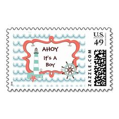 Ahoy It's a Boy Nautical Baby Shower Postage