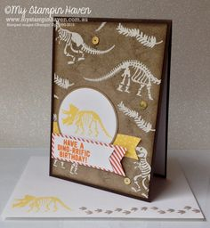 No Bones About It, Schoolhouse DSP, emboss resist background dinosaur birthday card #MyStampinHaven #StampinUp