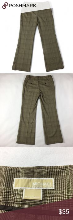 "•• Michael Kors Stretch Designer Plaid Dress Pants MK pants in excellent condition overall. Only worn twice. The cut of these pants make them so flattering and comfortable on. They would be great paired with your favorite cotton shirt or even a gorgeous blouse. They have a subtle plaid pattern to them when the light hits them.  Measurements (approx) Inseam: 33"" Waist (Flat Lay): 17""  Coming from a smoke free pet free home. (MD1-0239) Michael Kors Pants Trousers"