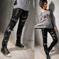 Black Spike Studded Low Waist Slim Fit Punk Emo Pants Men Women