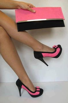 black and pink high heels