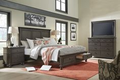 "Peppercorn finish on Cherry veneer accented with gunmetal hardware highlight this beautiful bedroom collection. ""Ah"" factors to improve your everyday tasks include USB outlets on both sides of the headboard & felt lined jewelry tray."