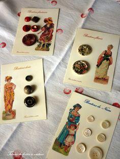 Cartes à boutons des trésors de boîtes à couture