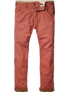 Morisson - Inside contrasting coloured twill chino - Pants - Scotch & Soda Online Shop