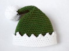 Change to red for Santa Dress your little holiday helper up in the adorable Little Helper Crochet Elf Hat. This easy crochet hat pattern is worked in the round in the half double crochet stitch, making it a fast project to complete. Easy Crochet Hat Patterns, Christmas Crochet Patterns, Holiday Crochet, Crochet Baby Hats, Crochet Beanie, Crochet Yarn, Free Crochet, Crochet Stitch, Crochet Christmas Hats