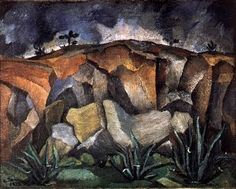 -RUFINO Tamayo. Landscape with rocks.