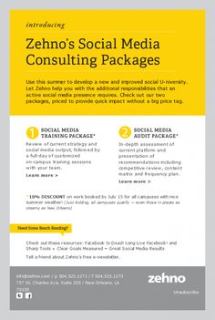 Zehno's Social Medial Consulting Packages HTML email marketing design