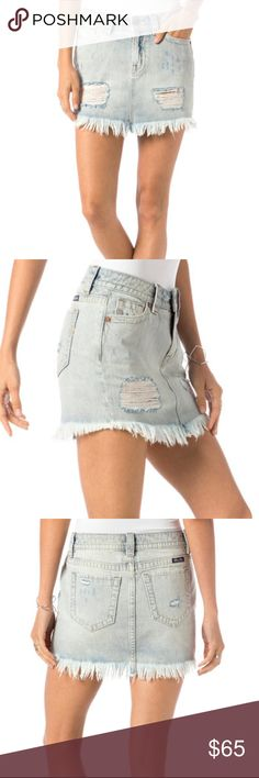 MISS ME FREE LOVE DENIM HIGH RISE SKIRT MISS ME high-rise skirt, light wash with distressing, frayed hem, and simple five pocket styling; adorable on its own or layered with tights/leggings for cooler weather.   Light wash 100% Cotton Machine Wash Separately In Cold Water MISS ME Skirts