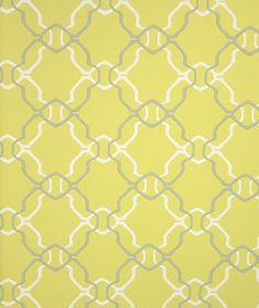 Aladdin Wallpaper A acid yellow wallpaper with geometric design in cream and grey.