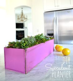 Make a DIY Wooden Succulent Planter. How to use Pantone's color of the year in your home decor.