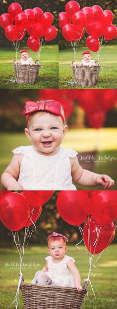 One year photos, girl 1 yr photos, one year Birthday photography, red balloons, wicker basket prop, Kansas City photographer, natural light photography, 1 year session, baby 1 yr pics, 1 year ideas, baby girl photos, baby's first birthday