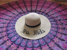 CUSTOM MRS  Embroidered Floppy Hat for the by LifeHasJustBegun