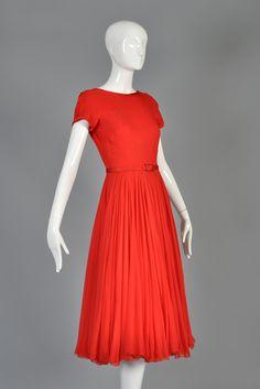 080d2dbff9d Circa 1951 James Galanos Cherry Red Silk Chiffon Party Dress