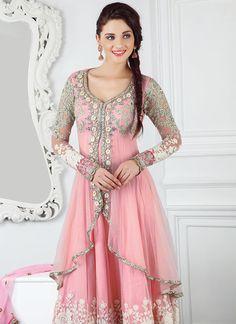 Cbazaar Splendiferous Pink Net Anarkali Suit