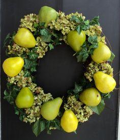 Pear And Hydrangea Wreath by MelanieLeeDesign on Etsy, $65.00