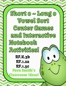 Fern Smith's Classroom Ideas!: Fern's Freebie Friday ~ Vowel Sorting Short o & Long o Interactive Notebook Activity!