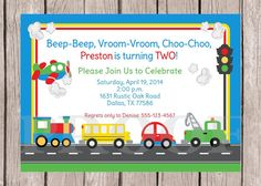 PRINTABLE, Personalized On the Move Birthday Party Invitation - Cars, Trucks, School Bus, Train and Airplane