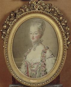 A tapestry painting of Marie Antoinette by Michel-Henri Cozette (or his son). 18th century.  source: gogmsite
