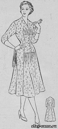 Платье с подрезом и вставкой на переднем полотнище - Сто фасонов женского платья - Всё о шитье