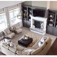 Home design ideas living room furniture layout window 53 ideas Living Room With Fireplace, New Living Room, My New Room, Home And Living, Living Room With Sectional, Living Room Ideas, Living Room Decor Elegant, Tv Above Fireplace, White Fireplace
