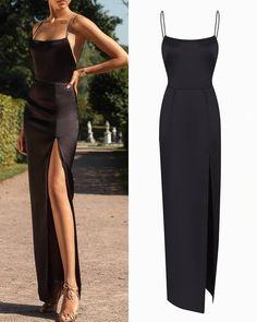 Long Black Dress 🖤 If you want buy this dress,pls DM us . Cute Prom Dresses, Dance Dresses, Ball Dresses, Elegant Dresses, Pretty Dresses, Beautiful Dresses, Evening Dresses, Bridesmaid Dresses, Glamouröse Outfits