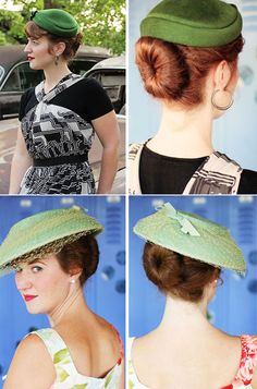 So many cute retro hairstyles using hair rats/rolls