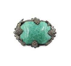 Art Deco Green Brooch - Czech Glass, Silver Tone, Floral Accents, Marbled Glass, Art Deco Jewelry Antique Jewelry by zephyrvintage on Etsy