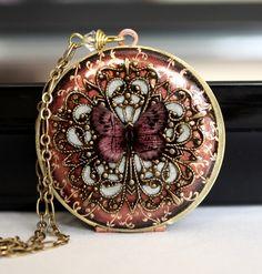 Locket, Pink Locket, Butterfly Locket, Filigree Locket, Vintage Locket, Wedding Necklace, Bridesmaid Necklace. $88.50, via Etsy.