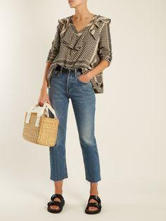 Click here to buy Cecilie Copenhagen Hoper V-neck scarf-jacquard cotton top at MATCHESFASHION.COM