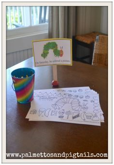 Very Hungry Caterpillar Birthday Coloring Table