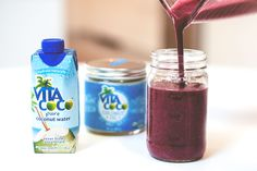 Sneak some extra greens (and reds and blues) into your diet with this fresh Mixed Berry Spinach Smoothie.   Blend 1/2 c. blueberries, 1/2 c. raspberries, 2 c. spinach, 1 tbsp. Vita Coco Coconut Oil, and 8 cubes of frozen Vita Coco Pure. Blend until smooth, and enjoy!