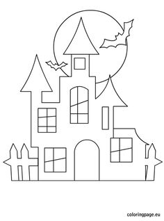 Halloween Castle Halloween coloring pages to print Halloween coloring pages - Moldes Halloween, Casa Halloween, Halloween Templates, Adornos Halloween, Halloween Crafts For Kids, Halloween Activities, Holidays Halloween, Halloween Decorations, Halloween Drawings