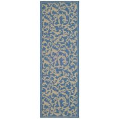 Safavieh Courtyard Collection CY2653-3103 Blue and Natural Indoor/Outdoor Area Runner Rug, 2-Feet 4-Inch by 6-Feet 7-Inch by Safavieh. $42.23. This rug features a blue background with a pattern in shades of natural tan. 100% Polypropylene Pile. The modern style of this rug will give your room a contemporary accent. The high-quality polypropylene pile fiber adds durability and longevity to these rugs. The powerloomed construction add durability to this rug, ensuring...