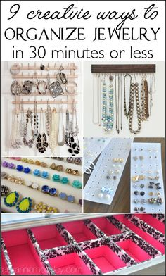 I'm sharing tons of ways to organize jewelry & a lot of them are DIY! From organizing earrings, to bracelets, to necklaces, you won't want to miss this list! Closet Organization, Jewelry Organization, Organizing Earrings, Tiffany Jewelry, Jewellery Storage, Jewellery Display, Tupperware Organizing, Keep Jewelry, Lineup