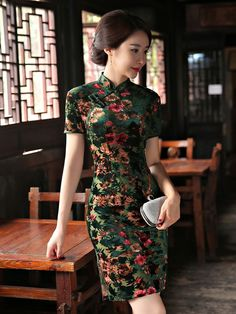 Garden Floral Velvet Qipao / Cheongsam Dress