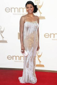 Taraji P. Henson Evening Dress - Taraji shined on the red carpet in a shimmering silver gown with delicate spaghetti straps. She finished off the look with a side swept updo. Emmys Best Dressed, Side Swept Updo, Black Actresses, Black Actors, Peacock Photos, Taraji P Henson, Silver Gown, Nice Dresses, Formal Dresses