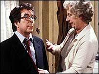 Ronnie Corbett as the librarian in sitcom 'Sorry! British Sitcoms, British Comedy, Comedy Films, Comedy Show, Ronnie Corbett, Classic Comedies, Uk Tv, Television Program, Vintage Tv
