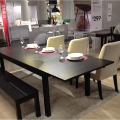 IKEA Bjursta roundoval I could keep our existing chairs and