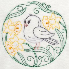 Embroidery: animals and flowers - birds - junco and daffodils