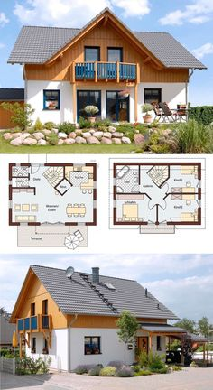 Prefabricated house in country house style with gable roof architecture, wood plaster facade & gables . - Prefabricated house in country house style with gable roof architecture, wood plaster facade & gabl - Modern House Plans, Small House Plans, Modern House Design, House Floor Plans, French Country House Plans, Country Style Homes, Country Houses, Living Haus, Gable Roof