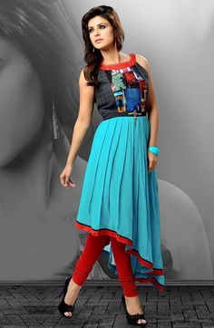 asymmetric style kurti for fashionable women