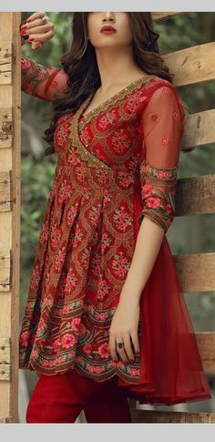 Beautiful Dress Indian Style  #outfits #indianfashion #red #pattern