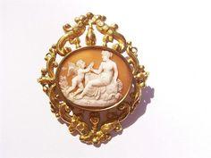 Antique Georgian Shell Cameo Brooch Fine Carving Cupid Venus | eBay