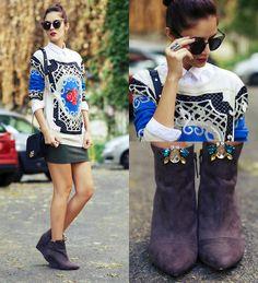Chic Wish Sweater, Chic Wish Sunglasses, Amiclubwear Skirt, Pretty Purple Boutique Shoe Clips