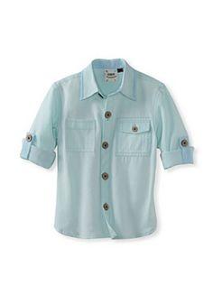 Fore!! Axel & Hudson Boys Roll Cuff Classic Oxford Shirt (Seafoam/Chambray)
