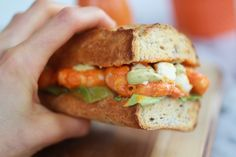 Grilled Buffalo Shrimp Sandwich with Spicy Avocado Ranch Dressing