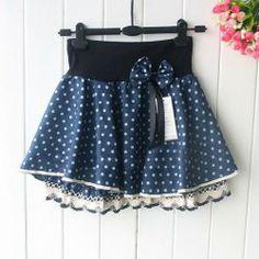 $7.78 Sweet Lace Hem Color-Match Polka Dots Bowknot Embellished Denim Skirt For Women